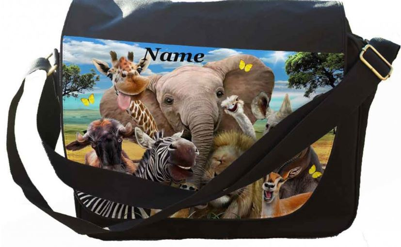 Personalised Any Name Africa Selfie Image Printed on Messenger/reporters Bag