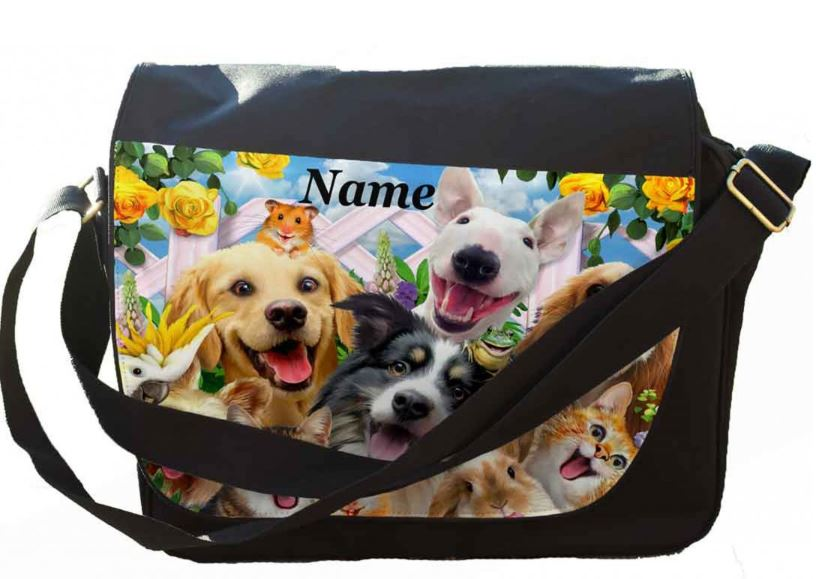 Personalised Any Name Backyard Pal Selfie Printed on Messenger/reporters Bag.