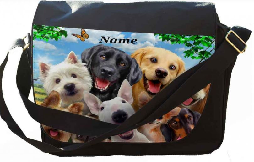 Personalised Any Name Dog Selfie Printed on Messenger/reporters Bag.