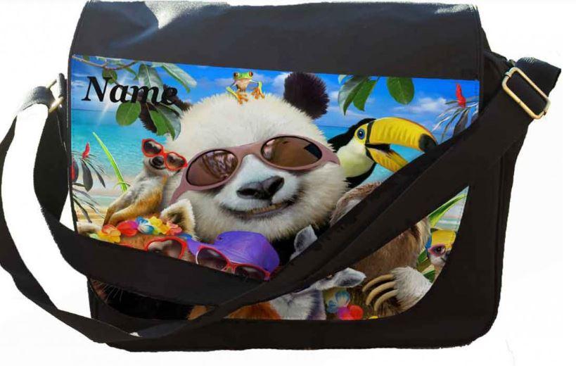 Personalised Beach Party panda Selfie Printed on Messenger/reporters Bag