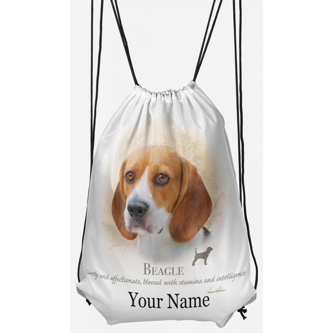 Personalised Beagle Drawstring Gym Bag