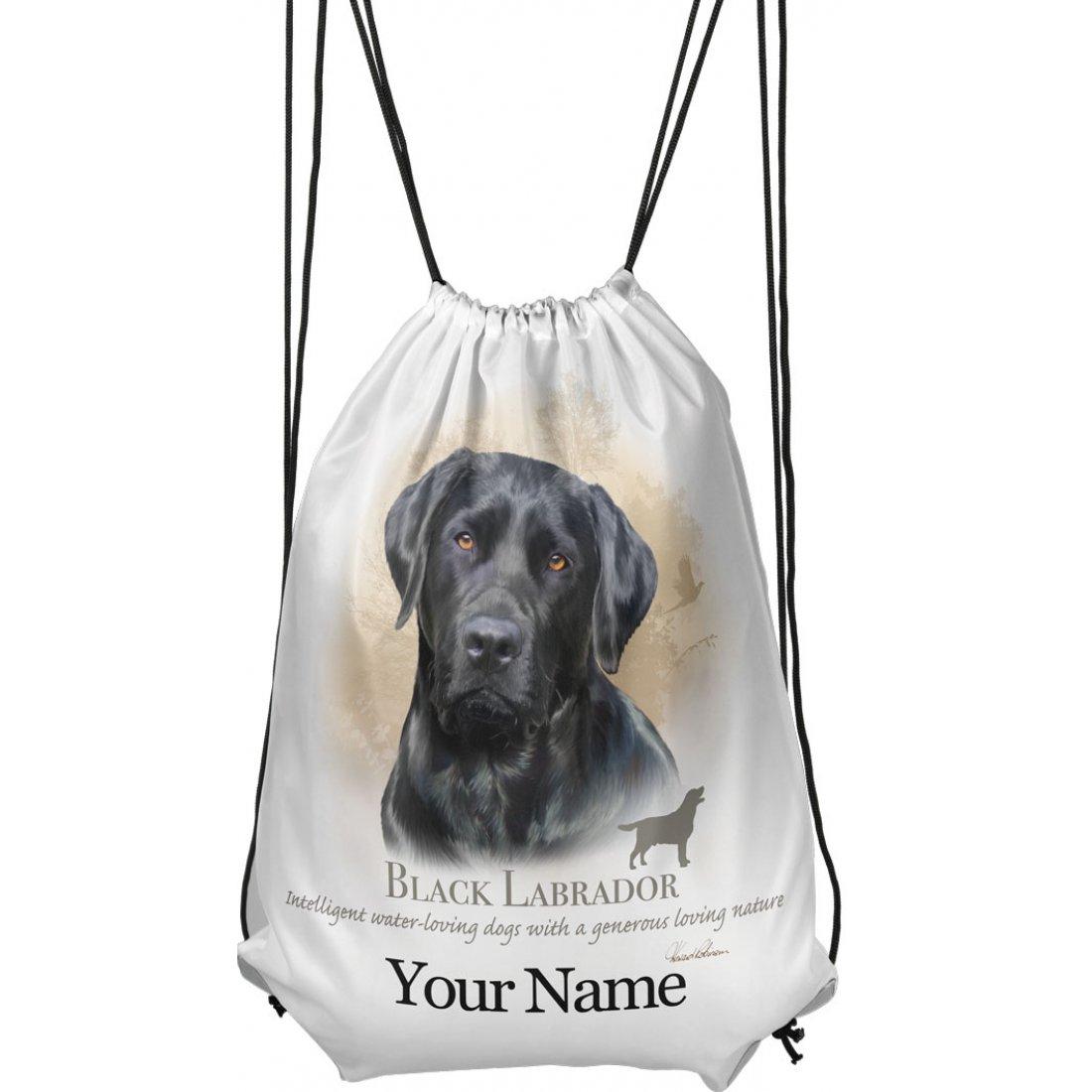Personalised Black Labrador Drawstring Gym Bag
