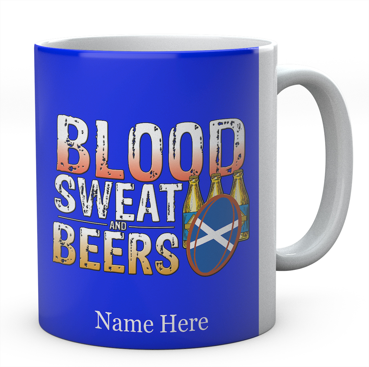 Personalised Blood Sweat And Beers Scotland Rugby Mug