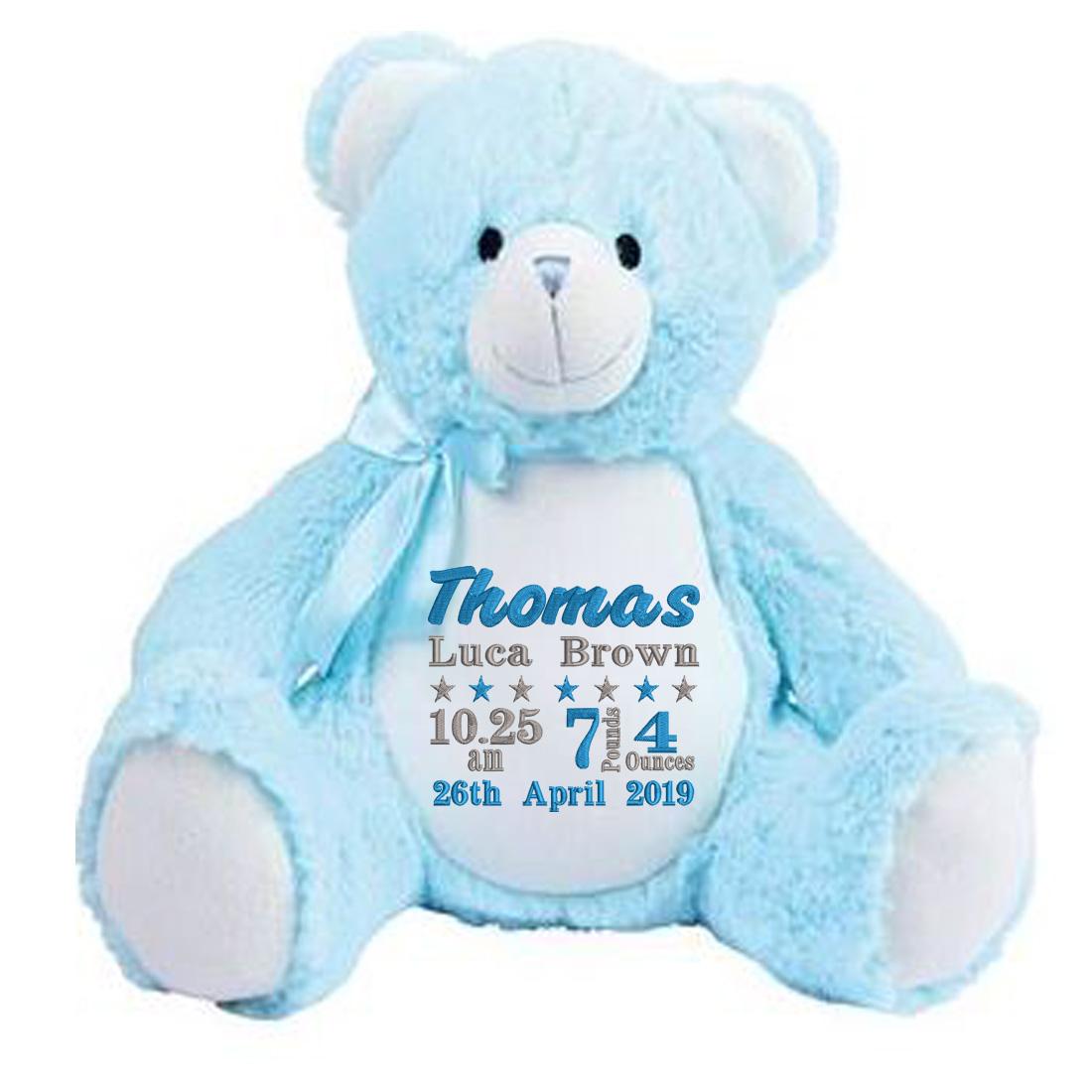 Personalised Blue Teddy Bear (Birth Block)