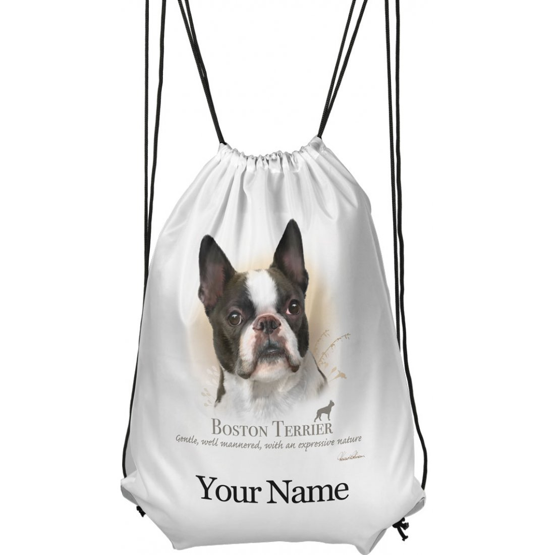 Personalised Boston Terrier Drawstring Gym Bag
