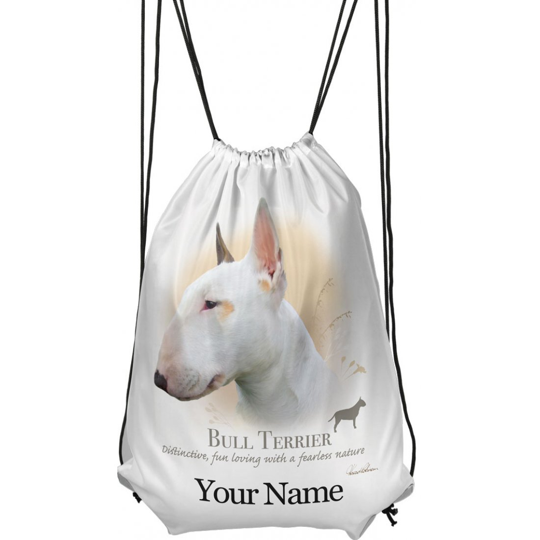 Personalised Bull Terrier Drawstring Gym Bag