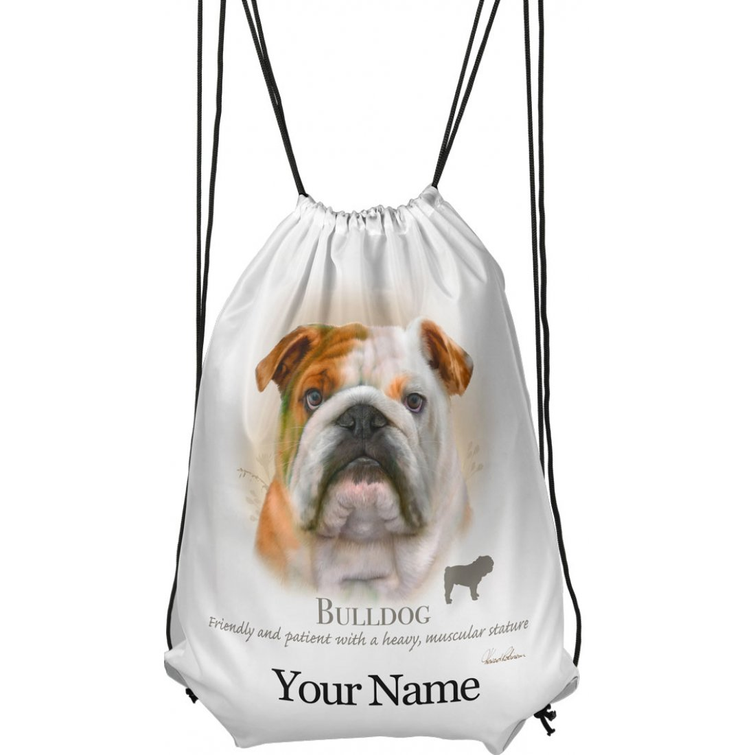 Personalised Bulldog Drawstring Gym Bag