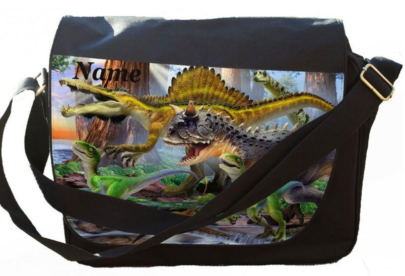 Personalised Carnotaurus Selfie Printed on Messenger/Reporters Bag