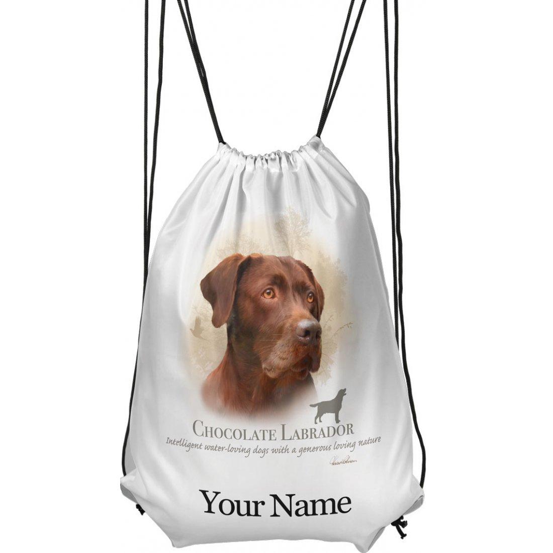 Personalised Chocolate Labrador Drawstring Gym Bag