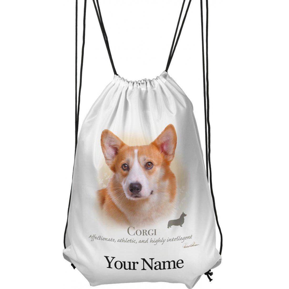 Personalised Corgi Drawstring Gym Bag