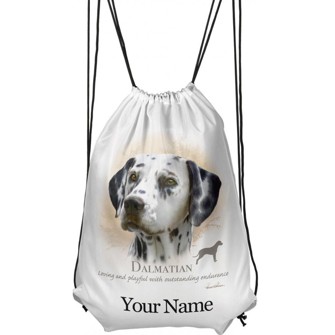 Personalised Dalmatian Drawstring Gym Bag