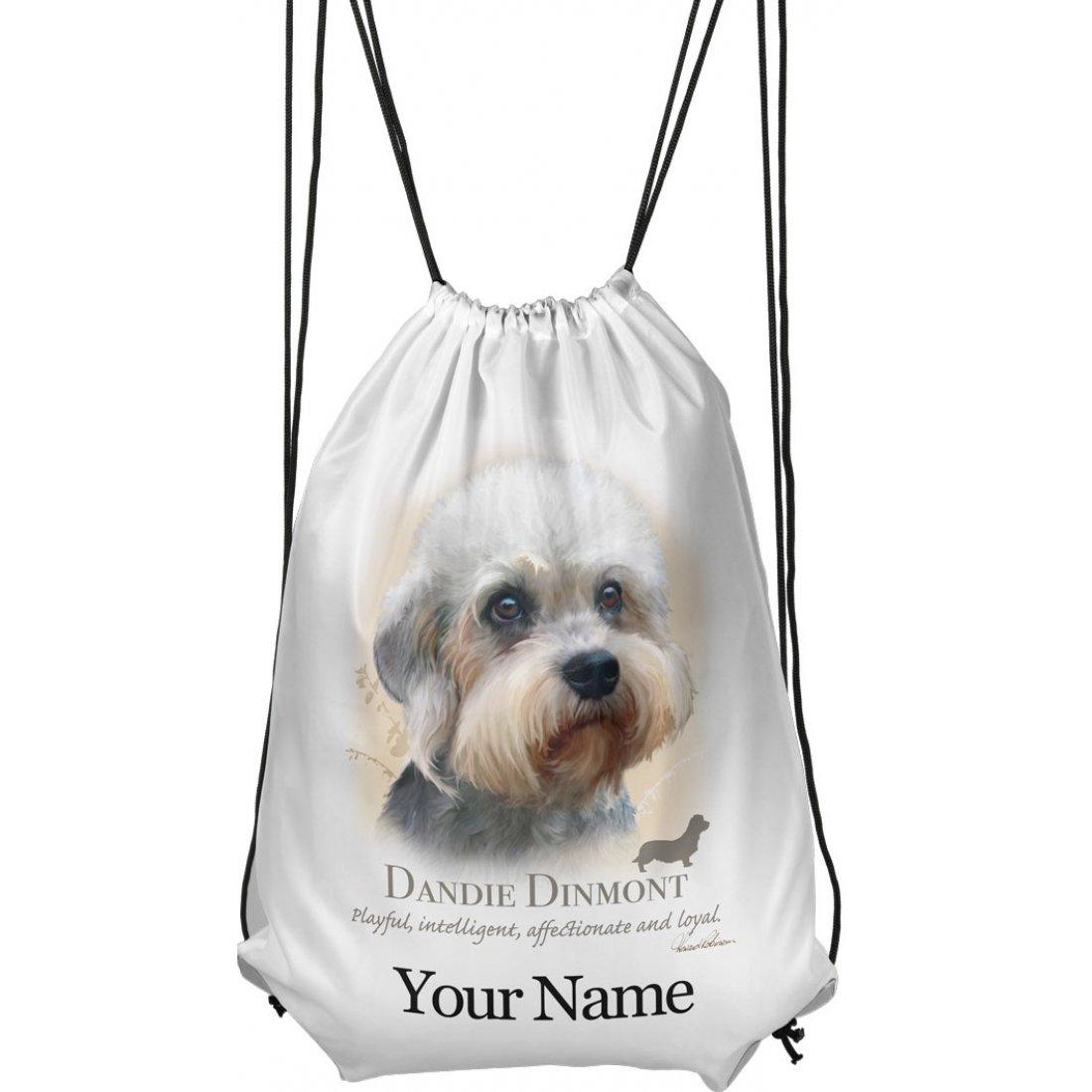 Personalised Dandie Dinmont Drawstring Gym Bag
