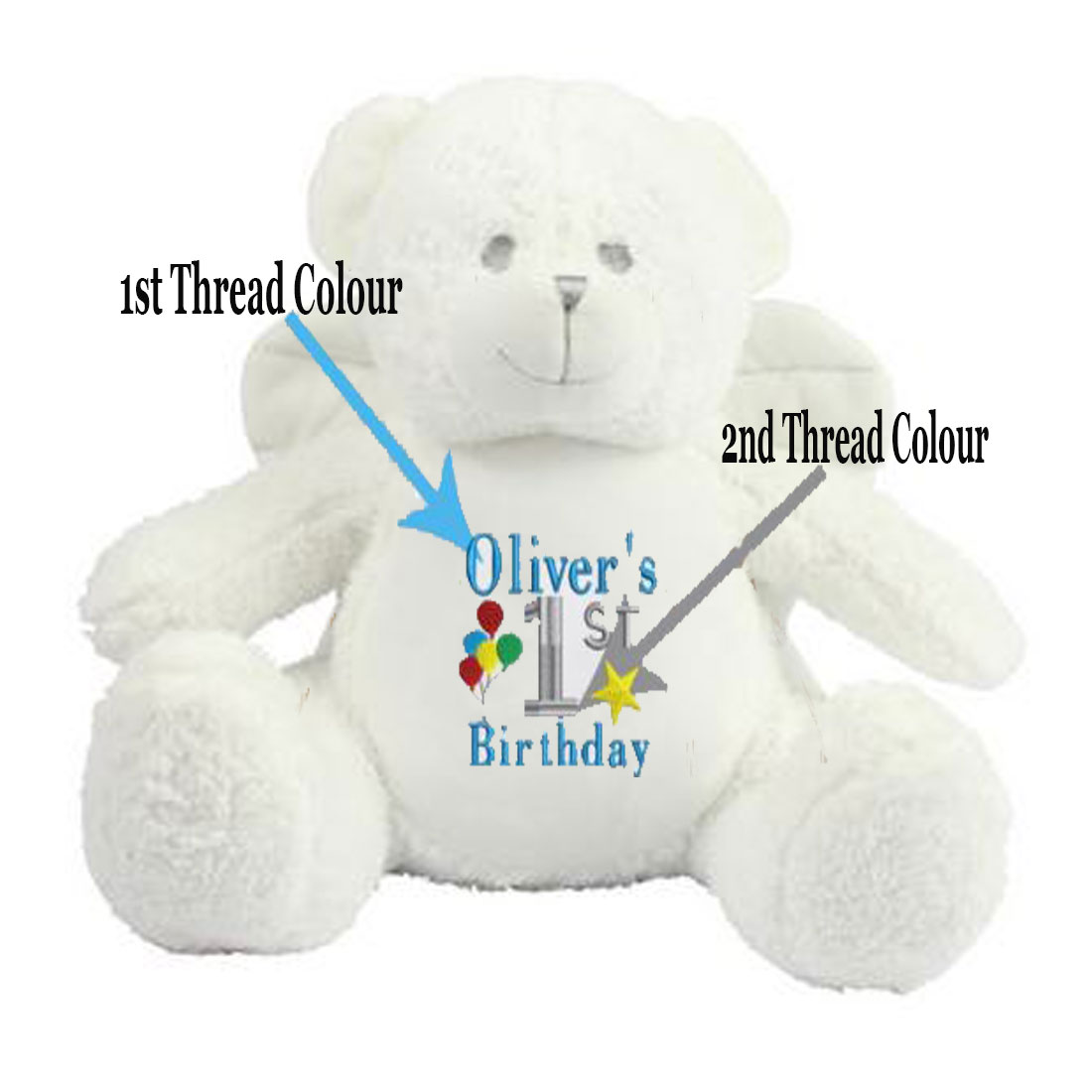Personalised Embroidered 1st Birthday Angel Teddy Bear