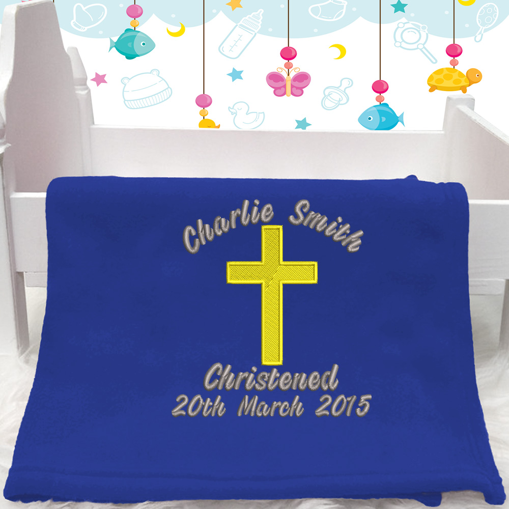 Personalised Embroidered Christening Baby Blanket