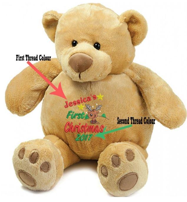 Personalised Embroidered Honey Teddy Bear 1st ChristmasReindeer