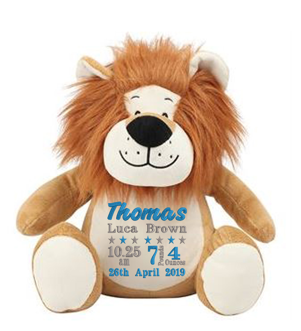 Personalised Embroidered Lion Teddy Bear( Birth Block)