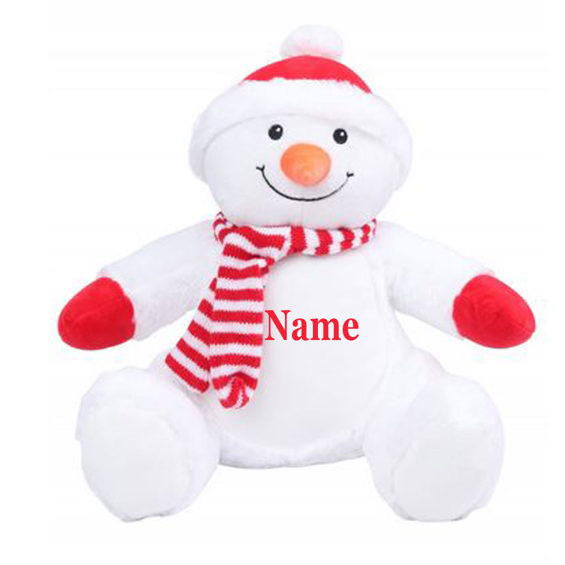 Personalised Embroidered Name, Mumbles Soft Snowman (Teddy Bear)