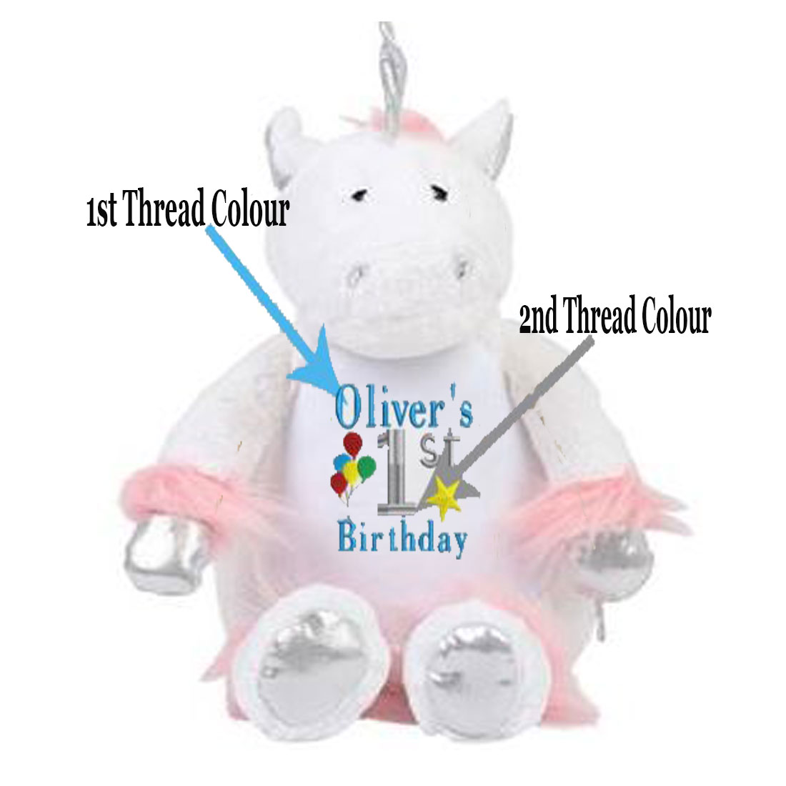 Personalised Embroidered Unicorn 1st Birthday Teddy Bear