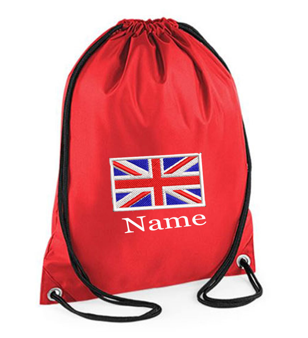 Personalised Embroidered Union Jack Drawstring Gym Bag.
