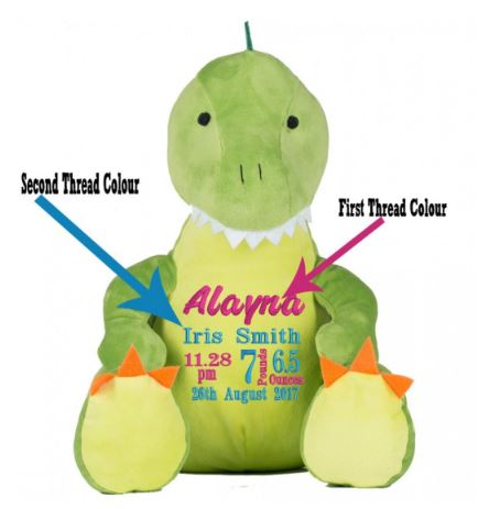 Personalised Embroidered with Birth Block On  Dinosaur Teddy Bear