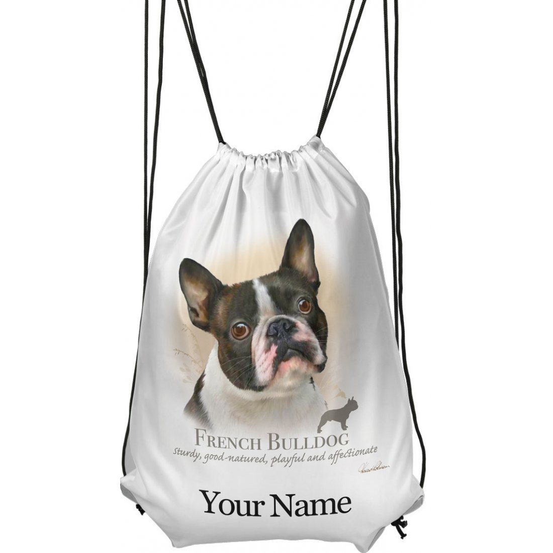 Personalised French Bulldog Drawstring Gym Bag