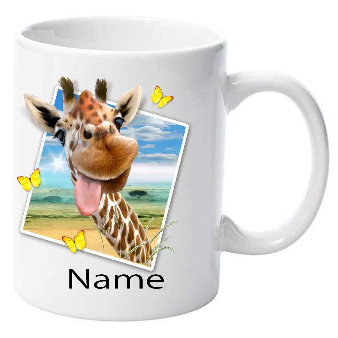 Personalised Giraffe Selfie Ceramic Mug