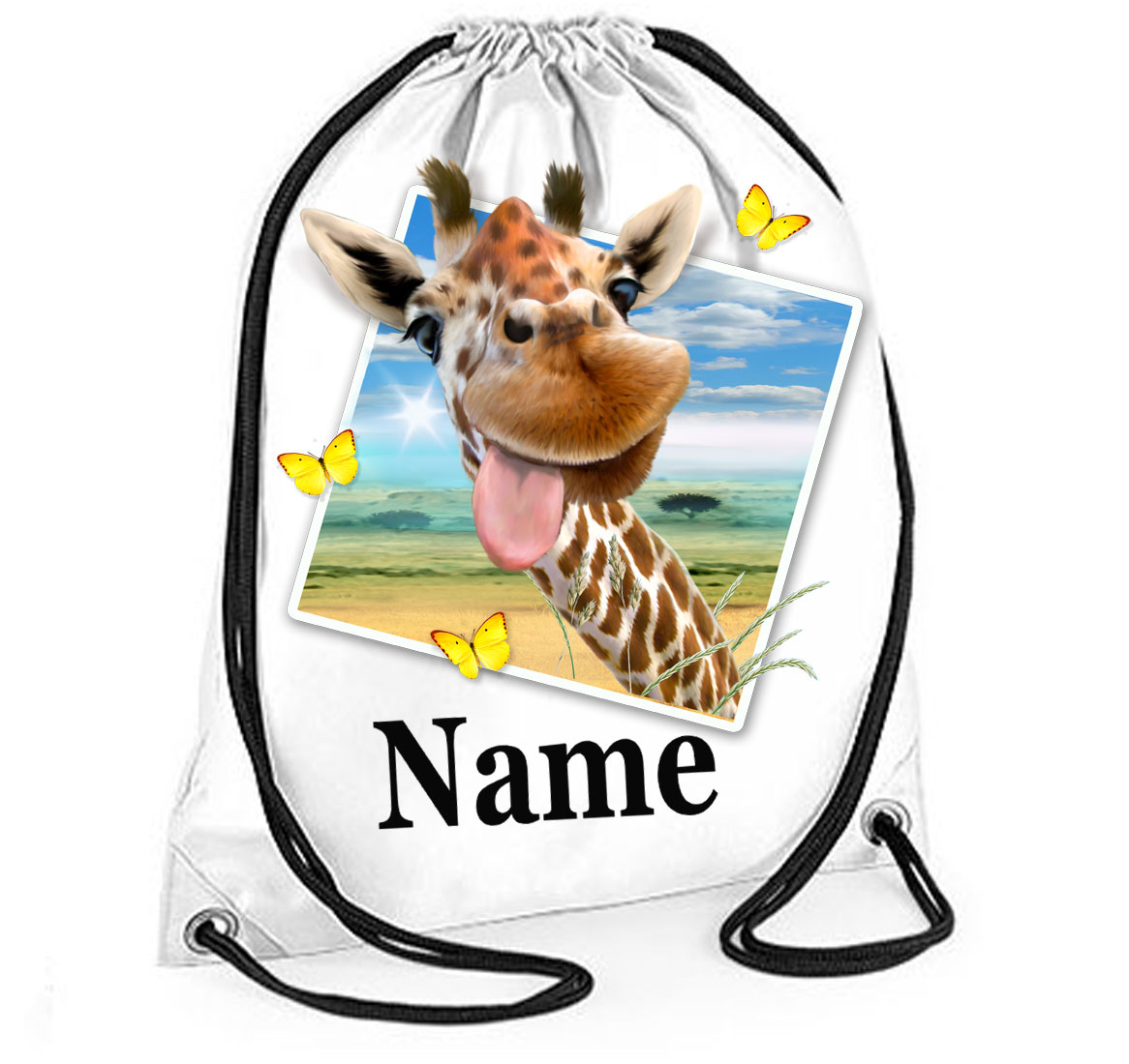 Personalised Giraffe Selfie Gym Bag
