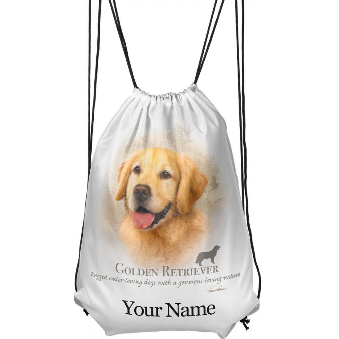 Personalised Golden retriever Drawstring Gym Bag