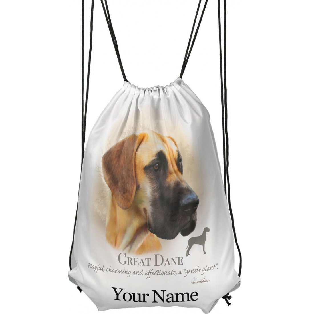 Personalised Great Dane Drawstring Gym Bag