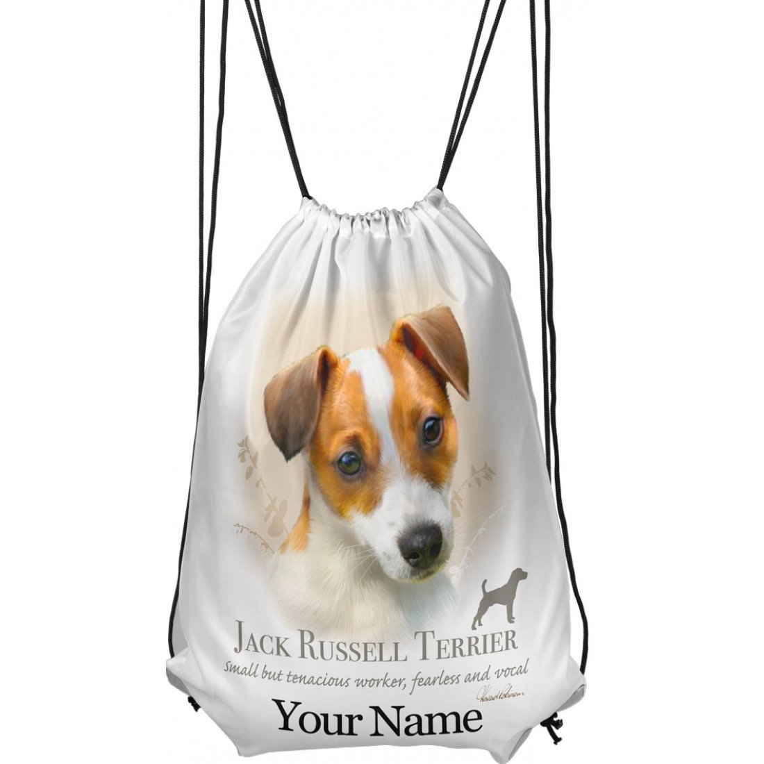 Personalised Jack Russell Drawstring Gym Bag