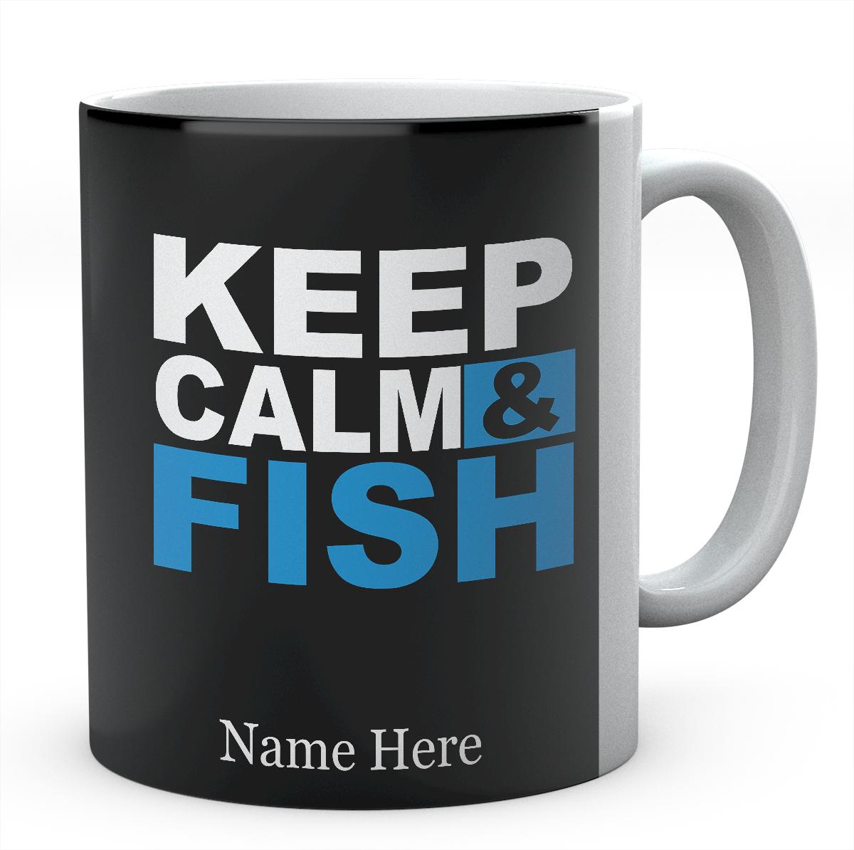 Personalised Keep Calm & Fish -Tea Coffee Mug