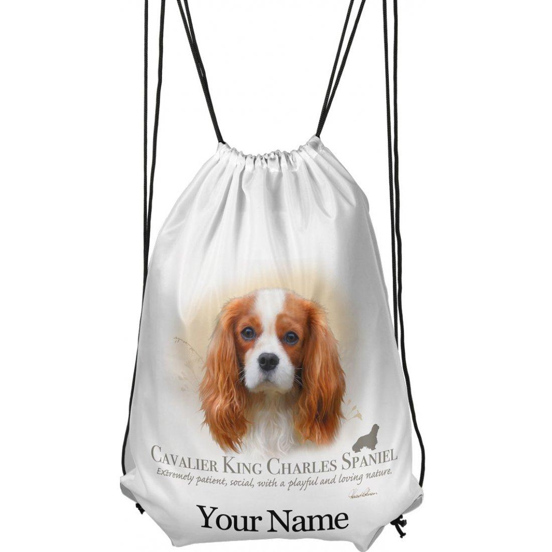 Personalised King Charles Spaniel Drawstring Gym Bag