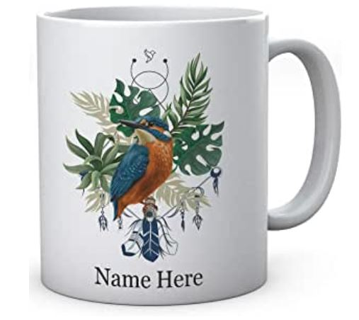 Personalised Kingfisher Ceramic Bird Mug
