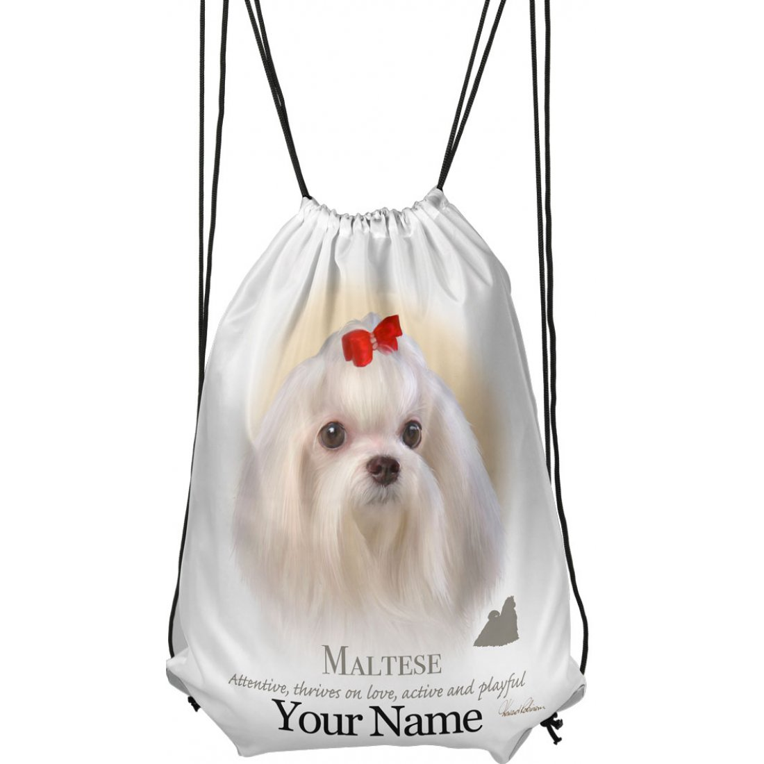 Personalised Maltese Drawstring Gym Bag