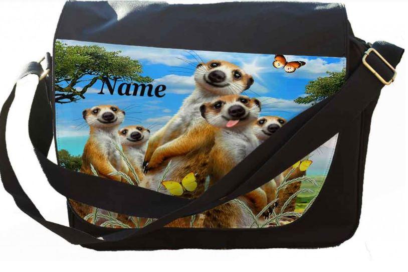 Personalised Meerkats Selfie Messenger/Reporters Bag