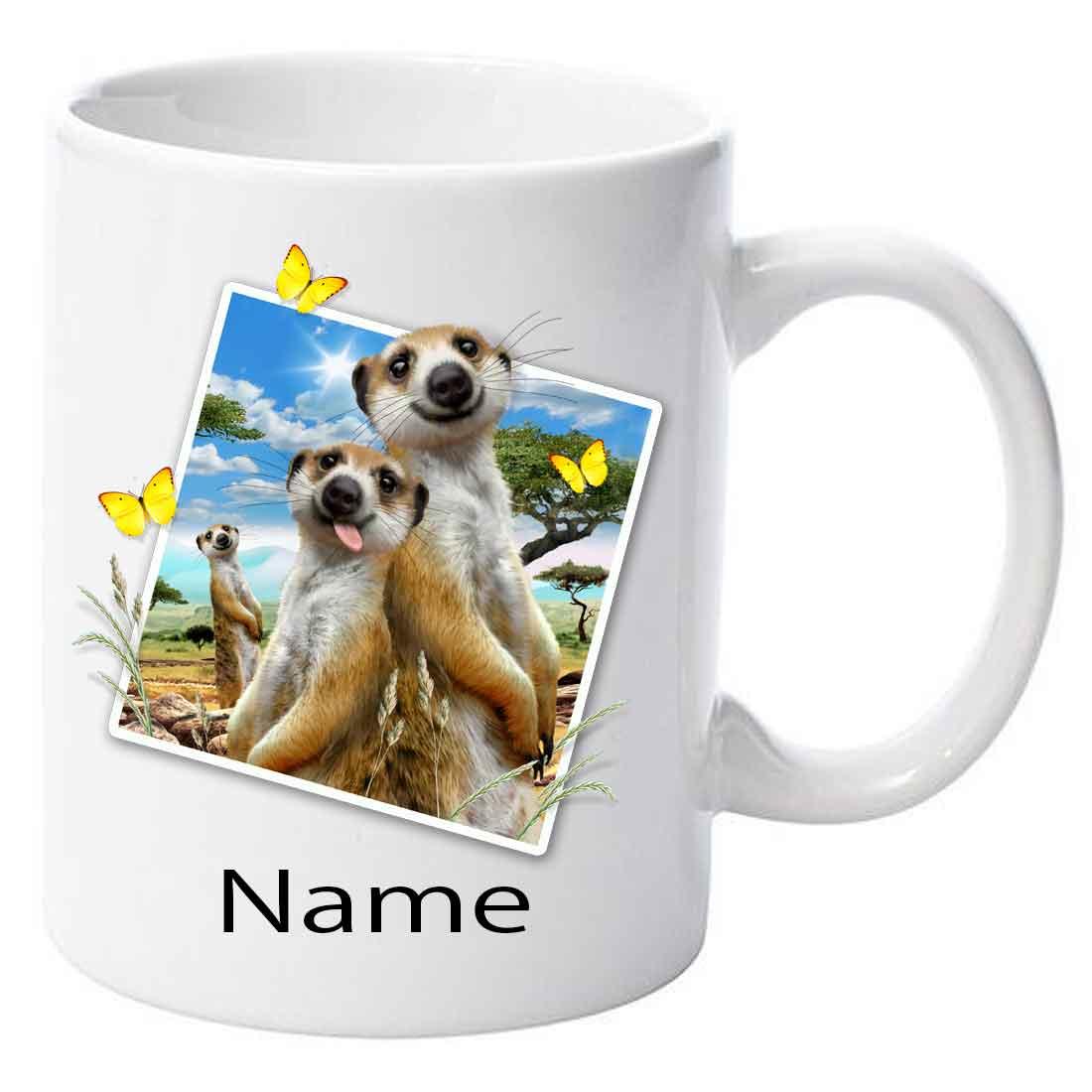 Personalised Meerkats Selfie Printed Ceramic Mug