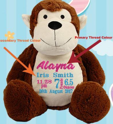 Personalised Monkey Birth Block Teddy Bear