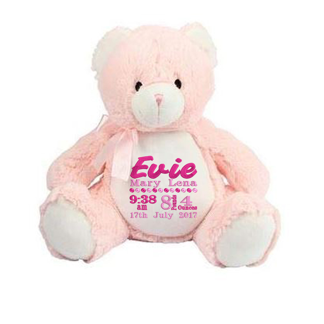Personalised Pink Teddy Bear( Birth Block)