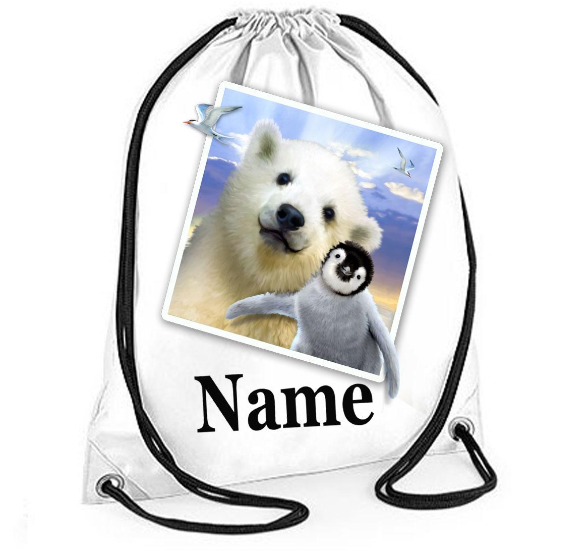 Personalised Polar Pals Selfie Gym Bag