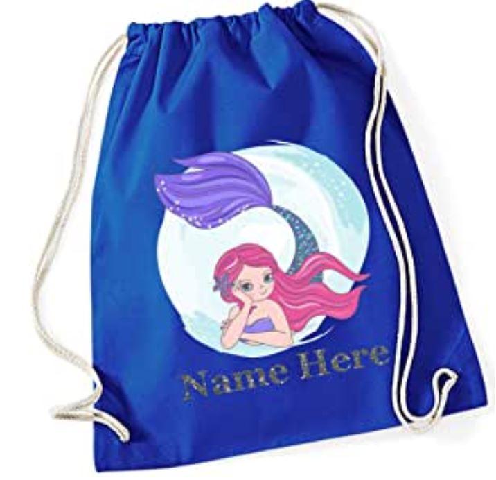 Personalised Printed Mermaid Drawstring Cotton Gym Bag with Rope Drawstring closure.