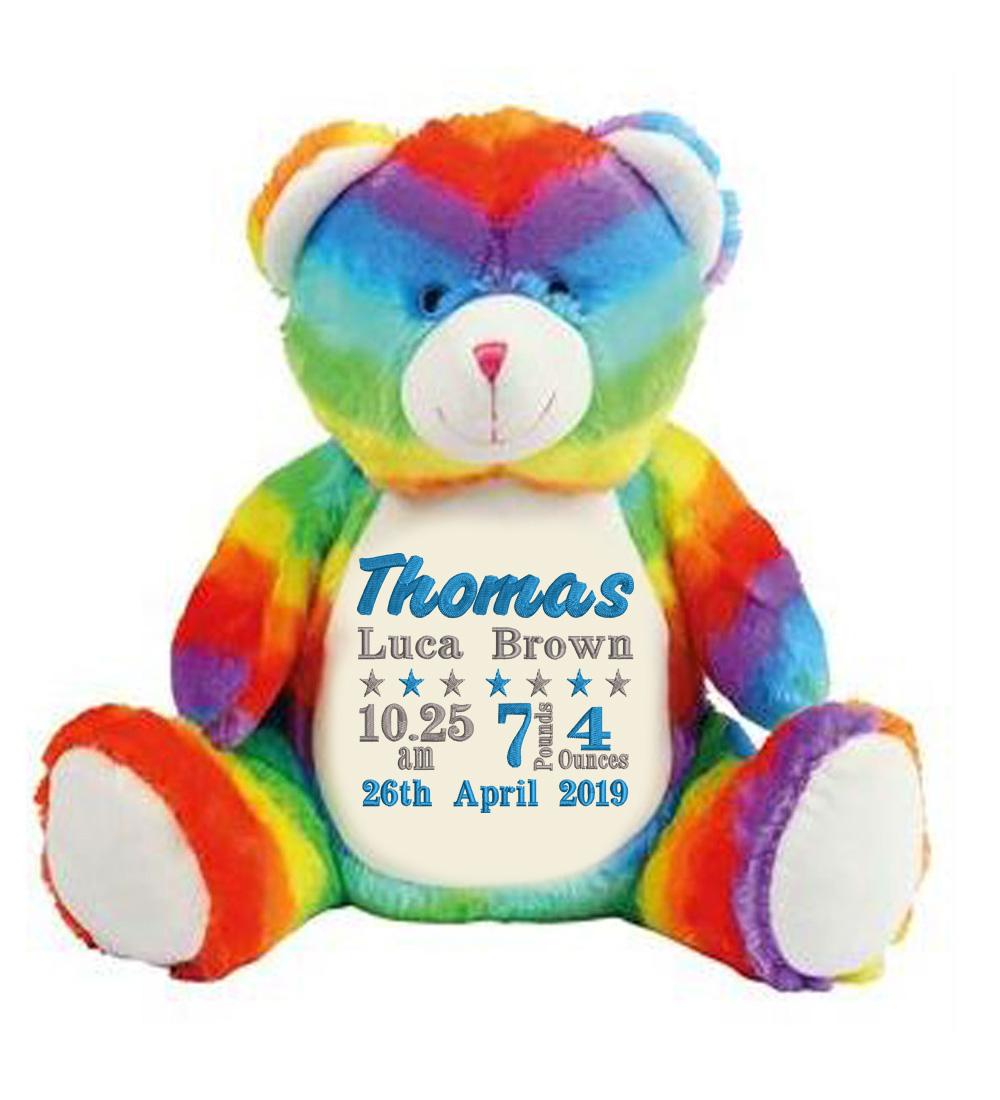 Personalised Rainbow Teddy Bear (Birth Block)