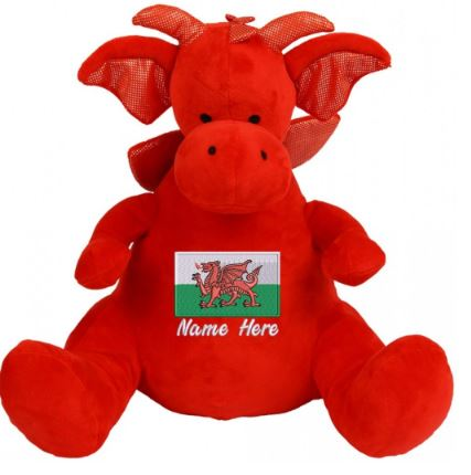 Personalised Red Dragon Teddy Bear with Welsh Flag