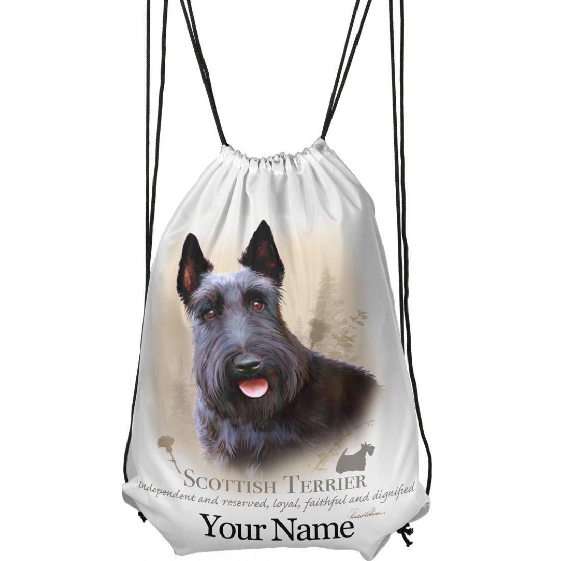 Personalised Scottie Drawstring Gym Bag