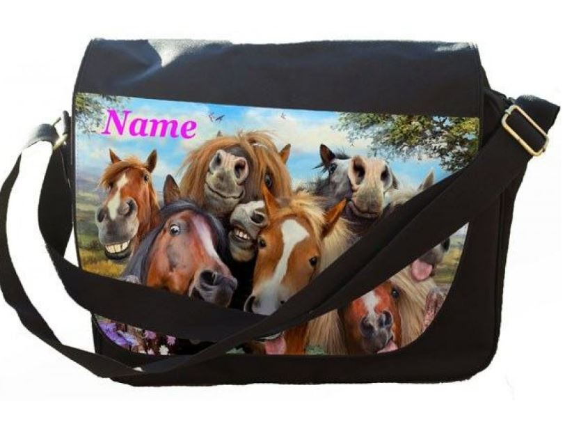 Personalised Selfie Horses Printed on Messenger/Reporters Bag