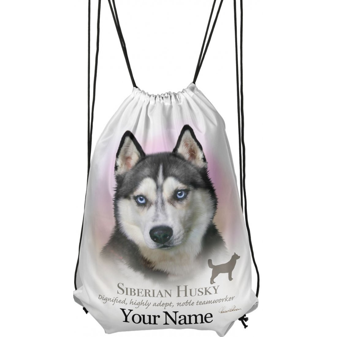 Personalised Siberian Husky Drawstring Gym Bag