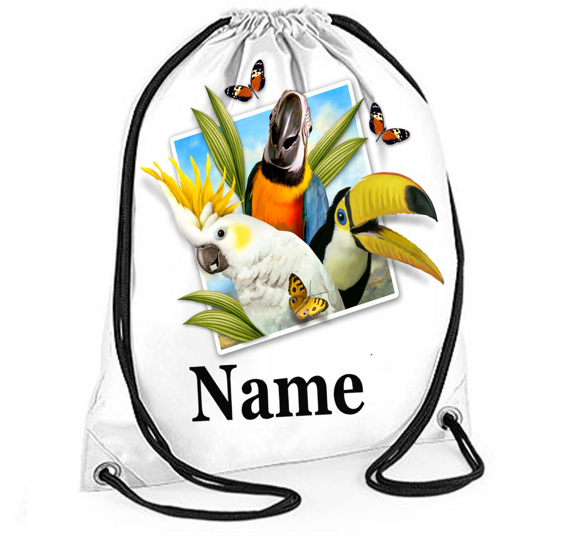 Personalised Tropical Birds Selfie Gym Bag