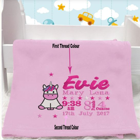 Personalised Unicorn Baby Blanket (Birth Block)