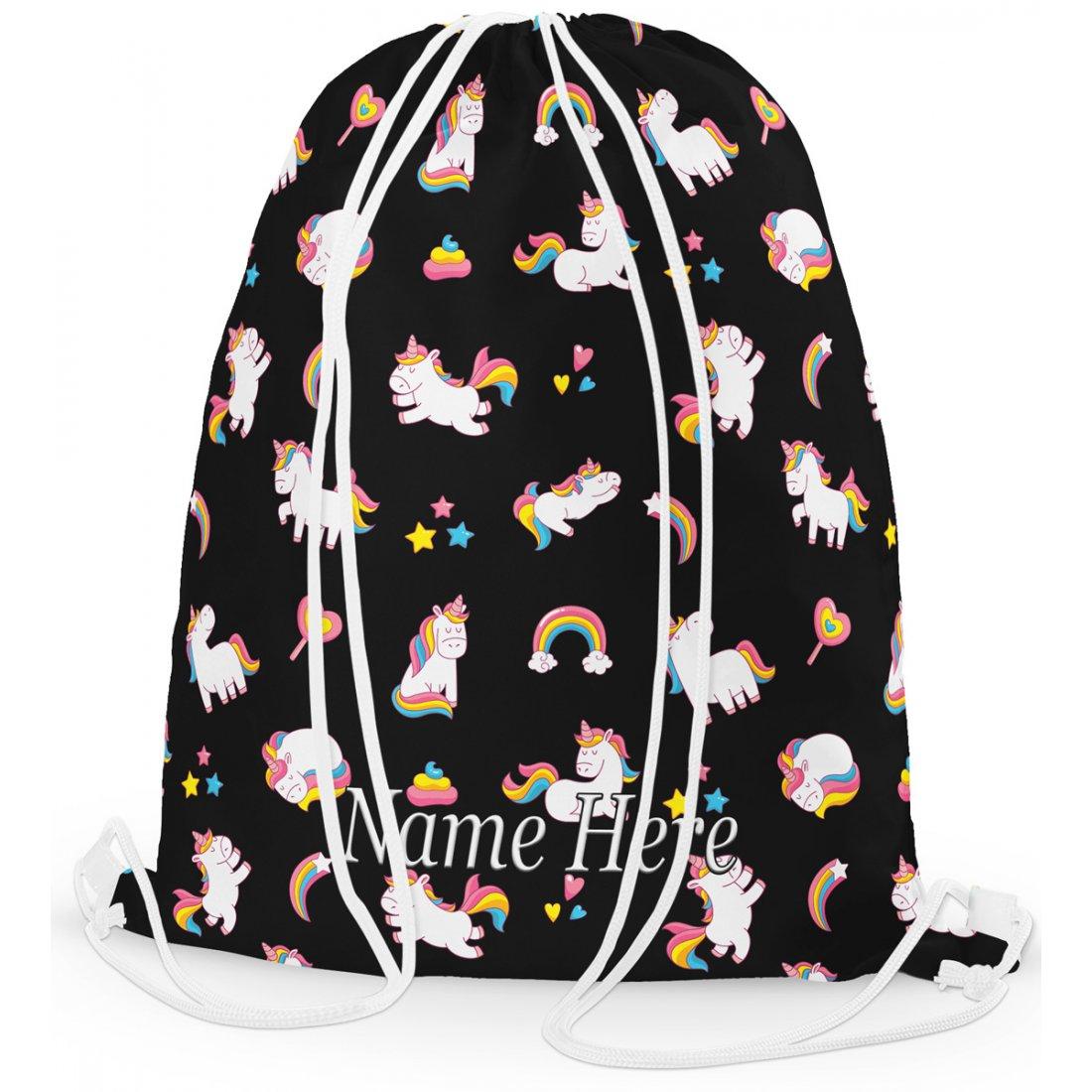 Personalised Unicorn Printed Pattern Gym Bag