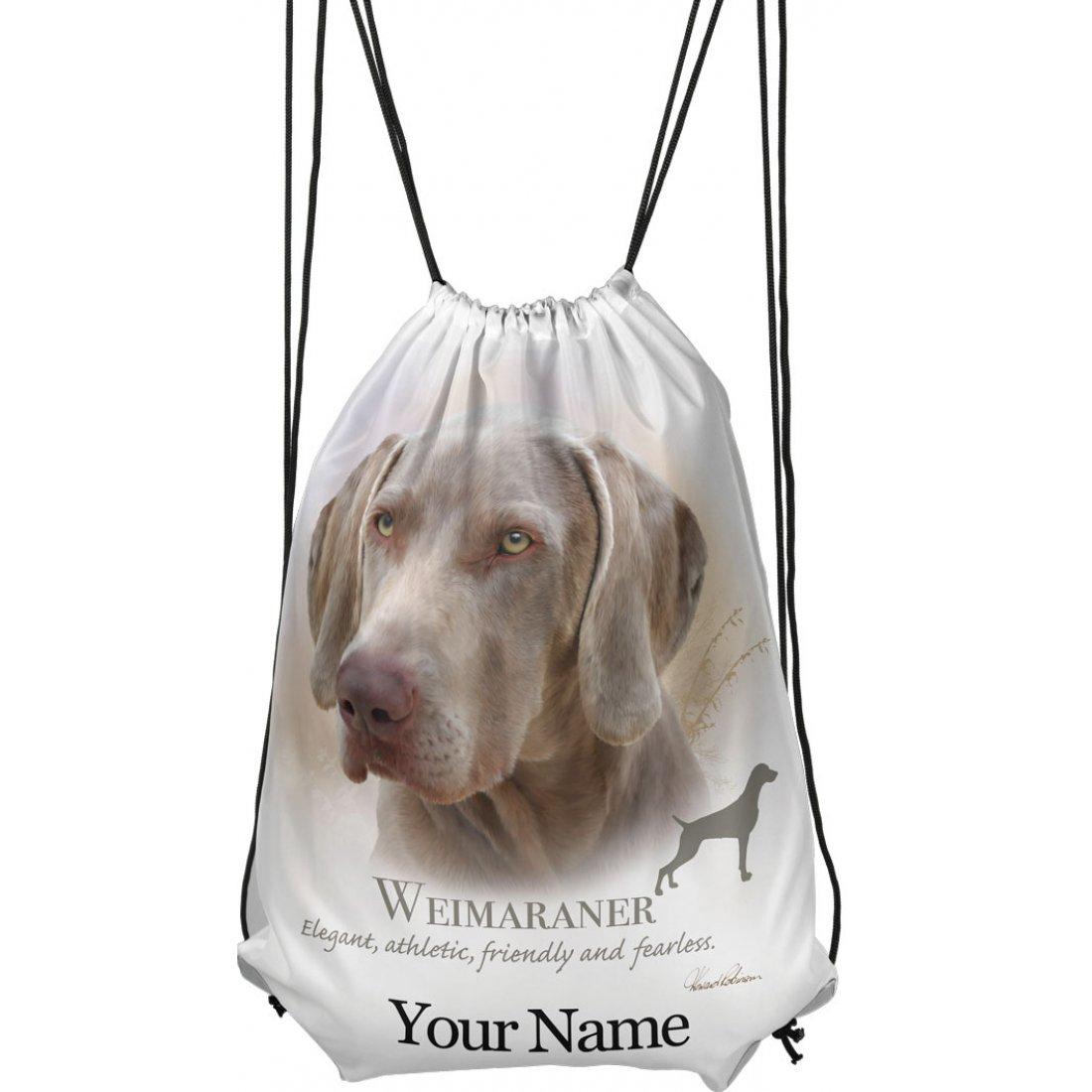 Personalised Weimaraner Drawstring Gym Bag