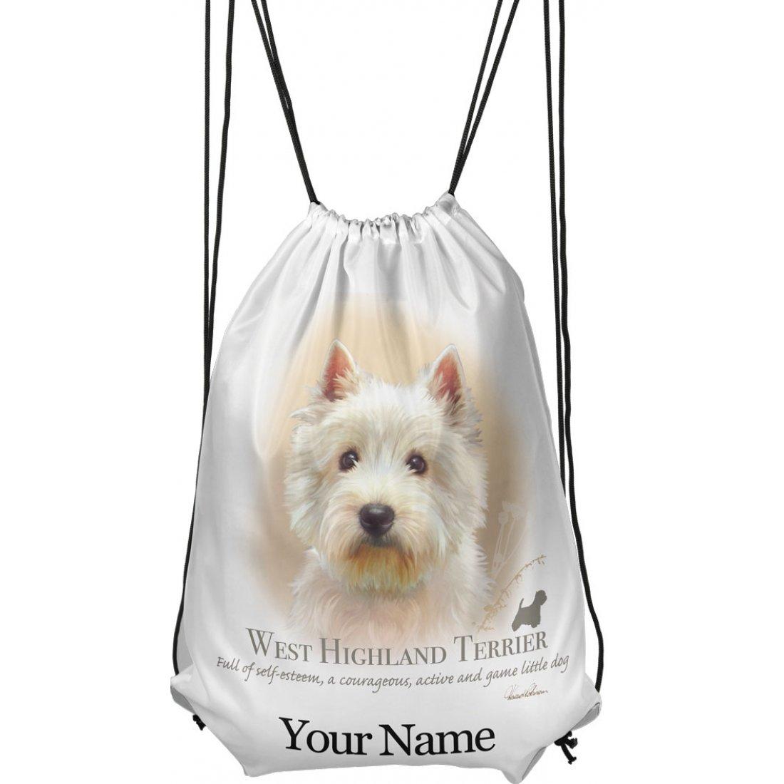 Personalised Westie Drawstring Gym Bag